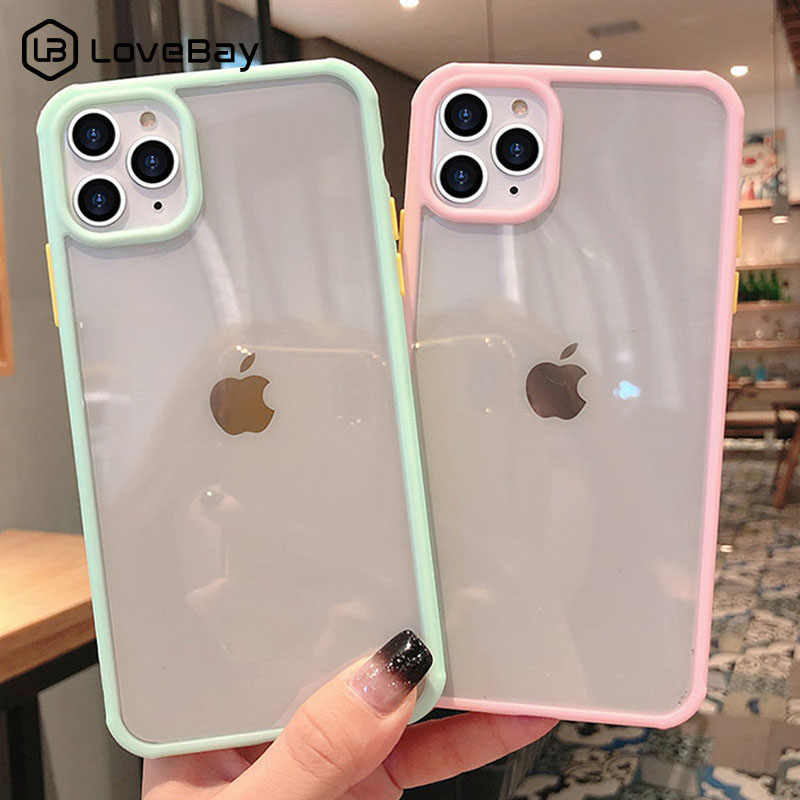Lovebay Shockproof Permen Warna untuk iPhone 11 Pro Max 7 8 Plus X XR X Max Padatan Transparan hard Acrylic Back Cover