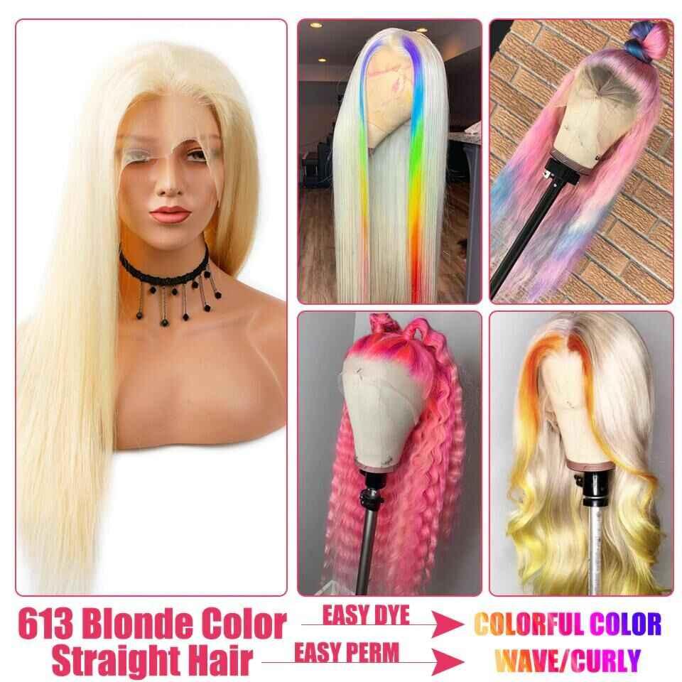 Glueless 613 blond koronkowa peruka środkowa część brazylijski prosto Remy ludzki włos koronkowa część peruki wstępnie oskubane 13x1 koronkowa peruka 150%
