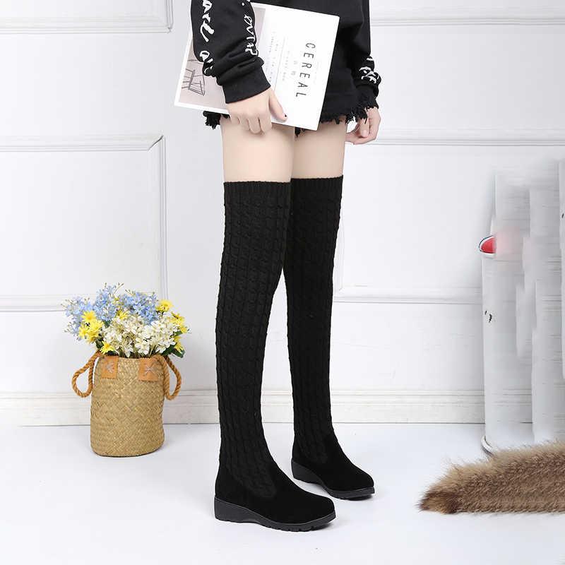 Новинка 2019 года; эластичные облегающие сапоги до бедра; Женские Сапоги выше колена; модные удобные сапоги на платформе; цвет черный, серый, коричневый