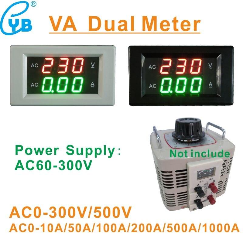 Yb4835va voltímetro digital led, amperímetro, medidor de corrente ac 0-500v, amperímetro, medidor de tensão ac 10a 50a 100a variac da fase única