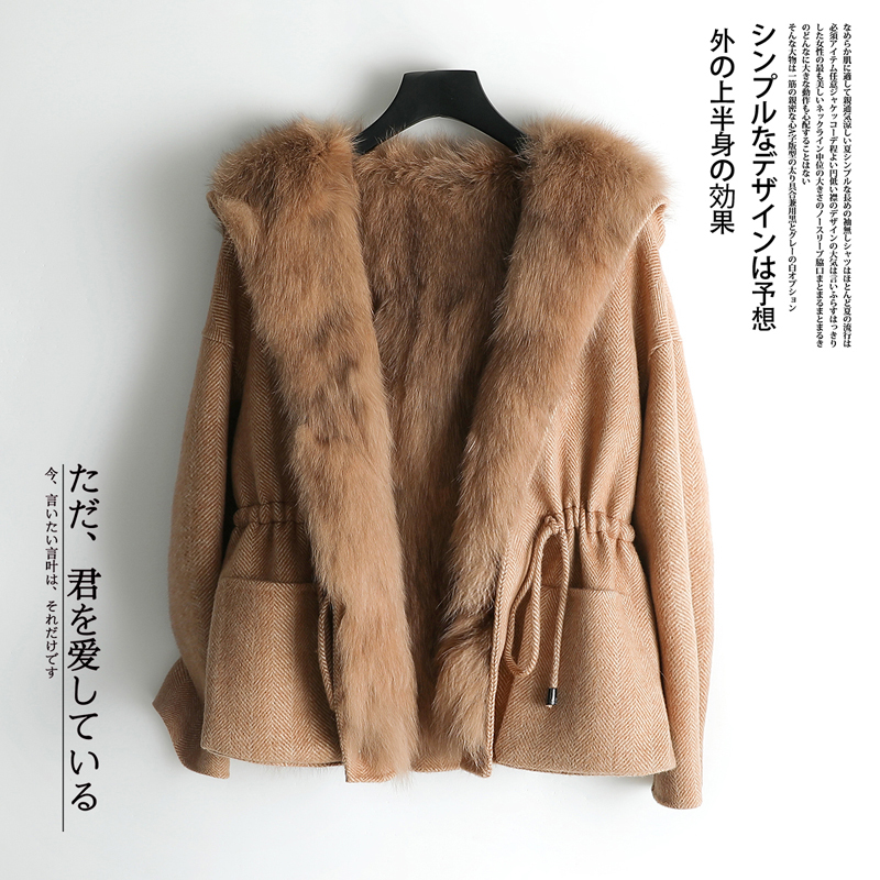 Fur Women's Coat Winter Jacket Women Natural Fox Fur Wool Coat Female Double Side Cashmere Woolen Coats Manteau Femme My En S