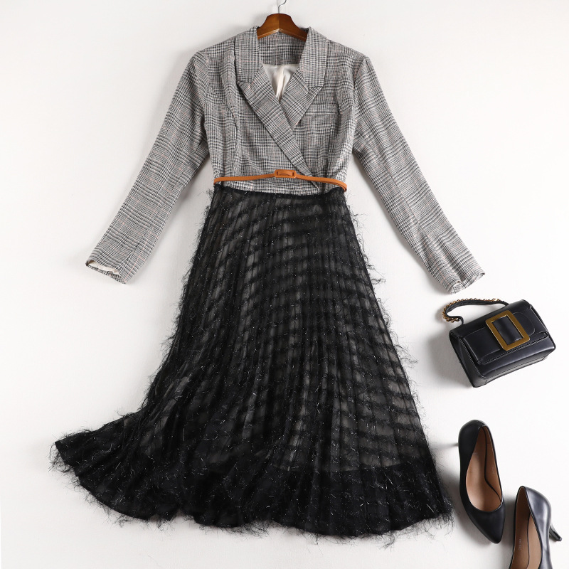 XL-5XL Plus Size Large Women's Fashion Dress 2019 Autumn Fat Sister M Plaid Suit Patchwork <font><b>10696</b></font> image