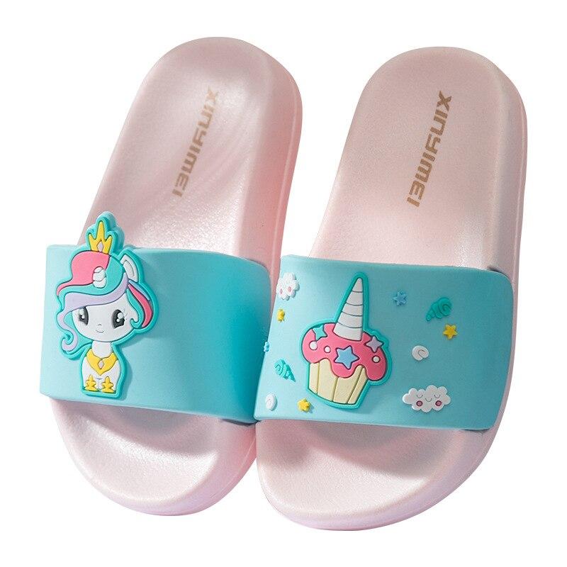 Kids Unicorn Slippers 2020 New Summer Toddler Sandals Rainbow Horse Cartoon Girl Slippers Non-Slip Bathroom Beach Shoes