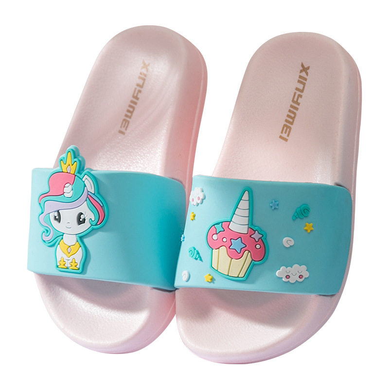 Suihyung Kids Unicorn Slippers 2020 New Summer Toddler Sandals Rainbow Horse Cartoon Girl Slippers Non-slip Bathroom Beach Shoes