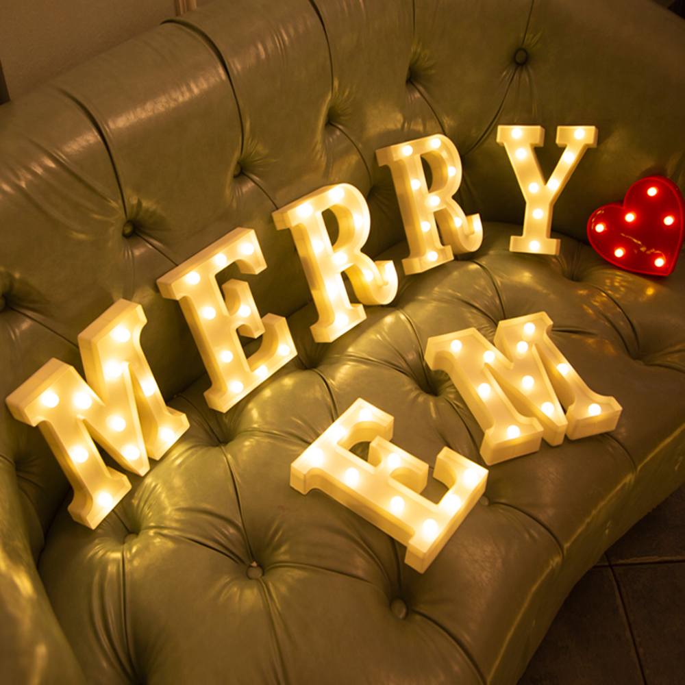 Alphabet Light Battery Marquee Sign Lamp Party Decoration Wedding Luminous Creative Christmas Indoor Night Lamp LED Letter Light