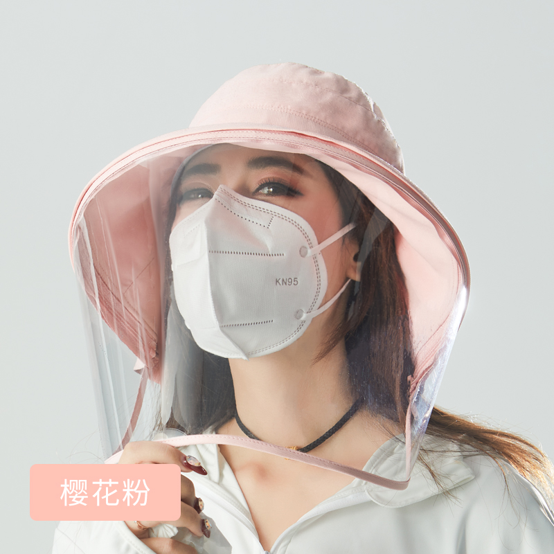 A163 Adult Protective Face Mask Hats PVC Cover Droplet Bucket Hat College Style Face Covering Mask Virus-Protection Caps