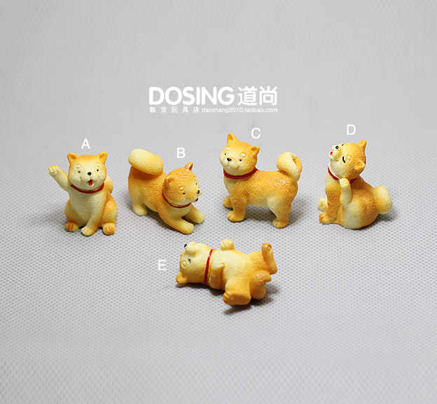 Japanese Shiba Inu Akita Puppy Small Yellow Dog Cute Animal Model Decoration Figurine Action Figures Scene Material Kids Toys