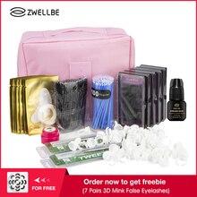 Conjunto de extensão de cílios postiços, kit de pinças para treinamento profissional, com bolsa