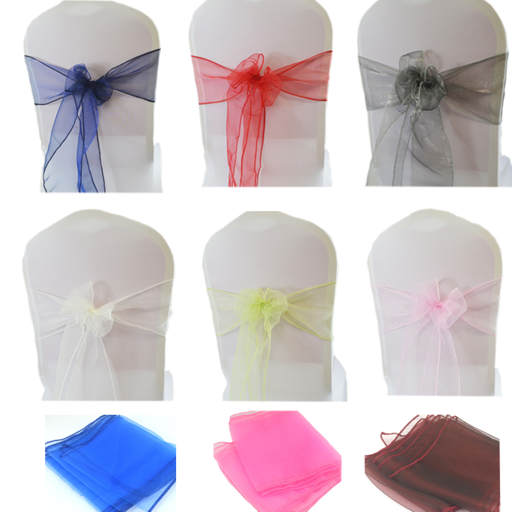 1PC Crystal Organza Chair Knot  Wedding Chair Decoration Sashes Bow Party Banquet Hotel Party Chairs Band Decor Hotel Supplies