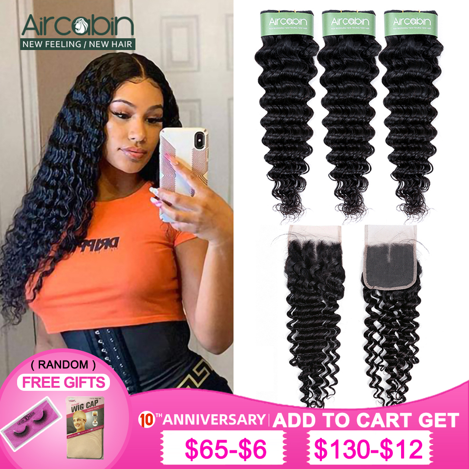 Aircabin Brazilian Deep Wave Bundles With Closure Remy Human Hair Natural Color Double Weft Bundles And 4x4 Swiss Lace Closure