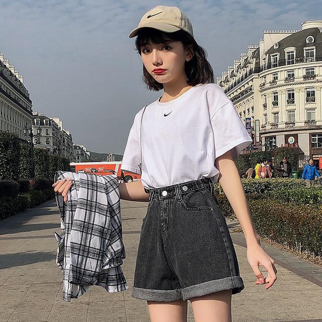 FTLZZ New Summer Women High Waist Button Wigh Leg Jeans Shorts Casual Female Loose Fit Blue Denim Shorts 2