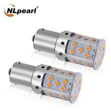 Nlpearl 2x1156 led lâmpada de sinal 3030 35smd ba15s p21w bau15s led bulbo p21w led 1157 sinal de volta do carro luz de freio reversa lâmpada 12v