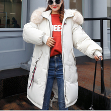 Winter Thicken Parkas coat 2019 New big fur collar Soft back embrodiery Long jacket Fashion female sintepon parkas