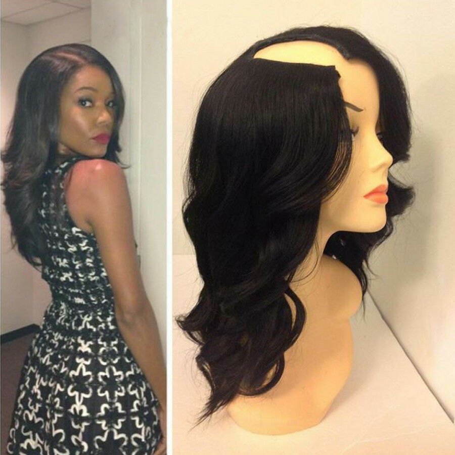 Long Wavy Human Hair U Part Wig Body Wave Brazilian Remy Human Hair Wigs Middle Right Left Upart 1