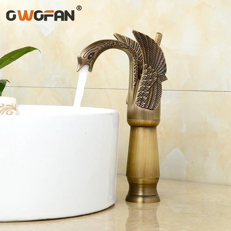 Antique en laiton nouveau cygne Design bassin robinet rétro salle de bain unique poignée haute arche luxe robinets mélangeur eau robinet SE-8606-2