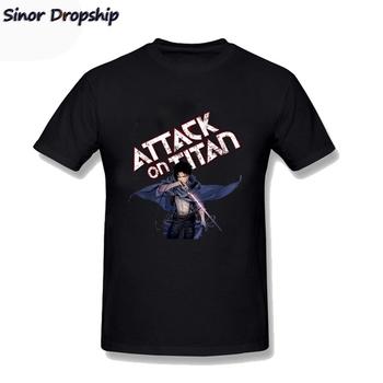 Anime atak na tytana koszulka śmieszne Geek niestandardowe koszulki koszulki męskie koszulki z krótkim rękawem koszulki Hombre czarne męskie koszulki tanie i dobre opinie CASUAL CN (pochodzenie) COTTON Wiosna I Lato HIP HOP O-neck regular Suknem Drukuj