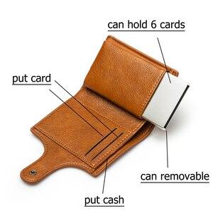 Image 2 - BISI GORO Mini portefeuille Anti vol, porte cartes intelligent RFID, étui à cartes unisexe Vintage, sac dargent solide, Dropshipping 2020