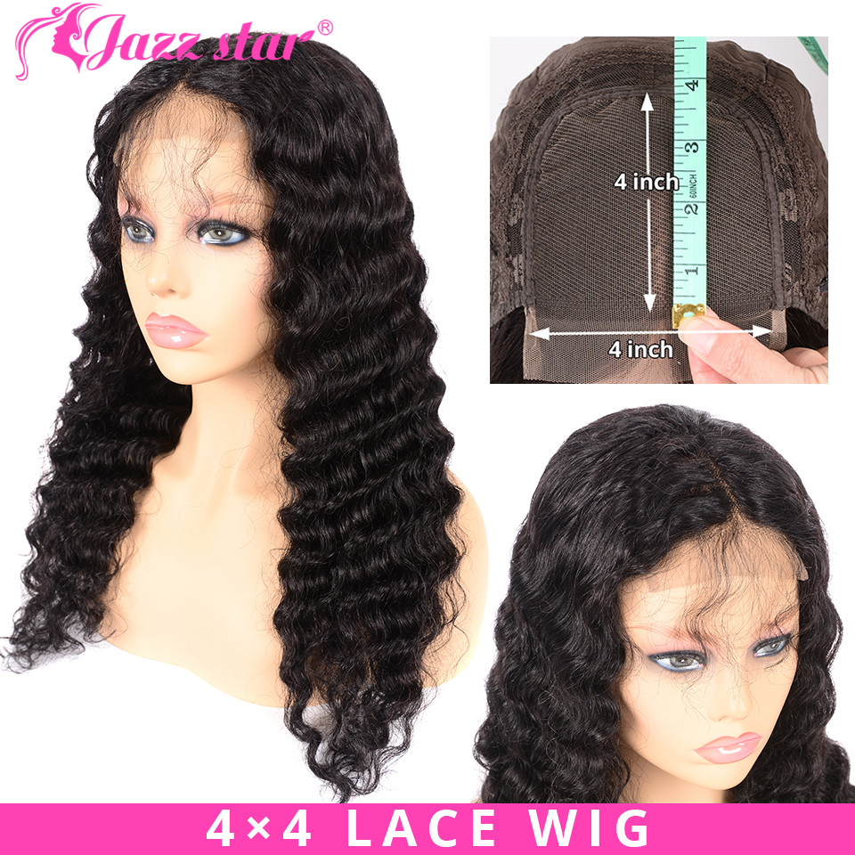 Brazilian 4X4 Lace Closure Wig Deep Wave Wig Human Hair Wigs For Black Women PrePlucked Lace Wig With Baby Hair JazzStar NonRemy