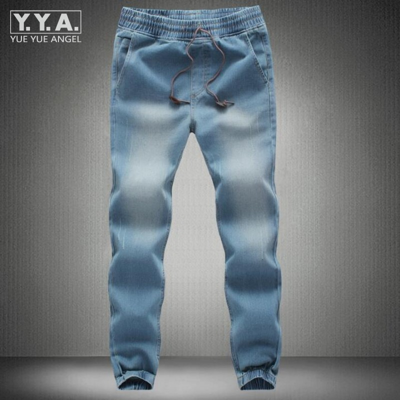 Summer Mens Denim Jeans Drawstring Waist Slim Fit Joggers Trousers Full Length Pants Washed Sweatpants Loose Casual Motor Jeans