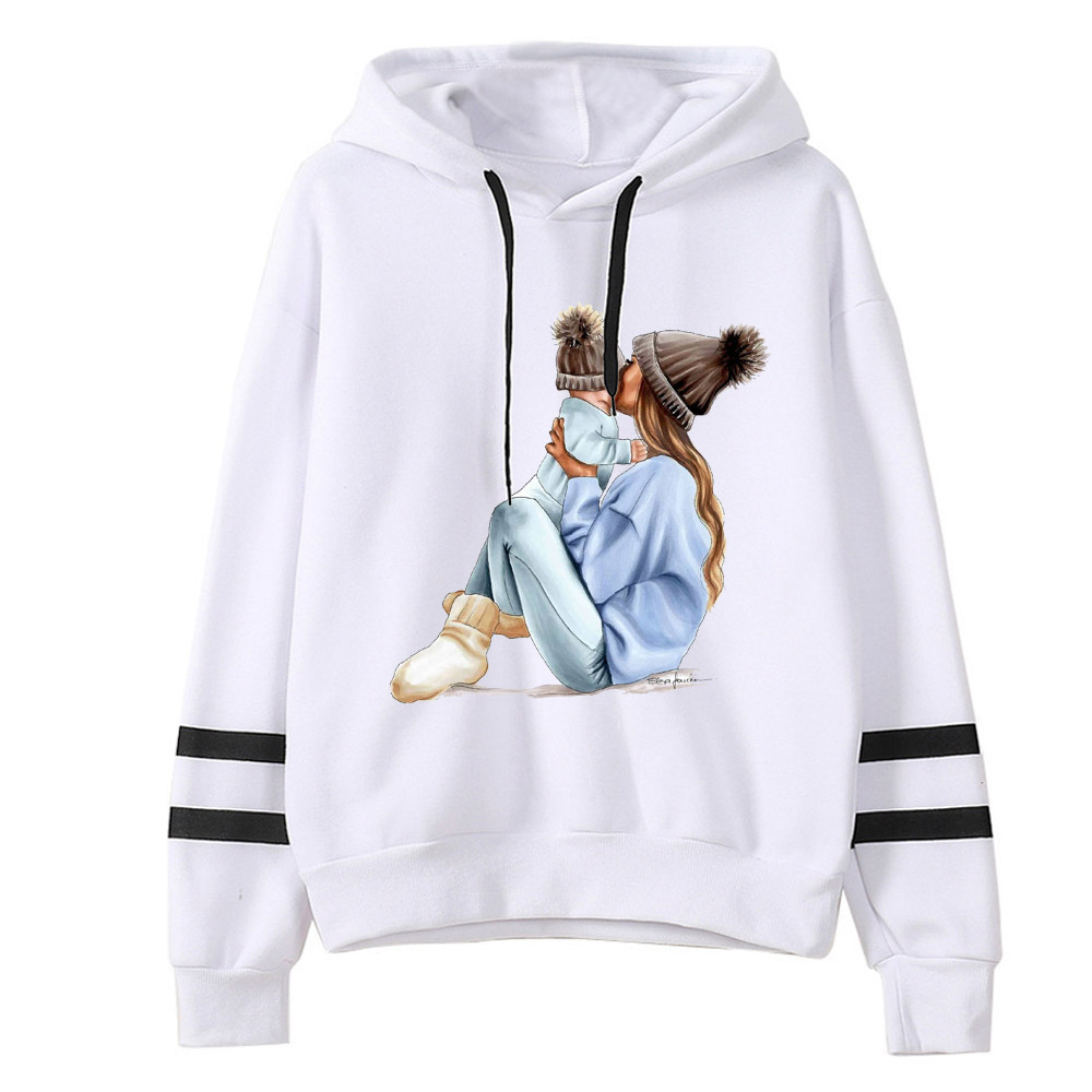 New 2019 Autumn Winter Women MOM Mouse Print Hoodies The Twins Baby Mouse Printed  Hooded Tops Printting Sweatshirt