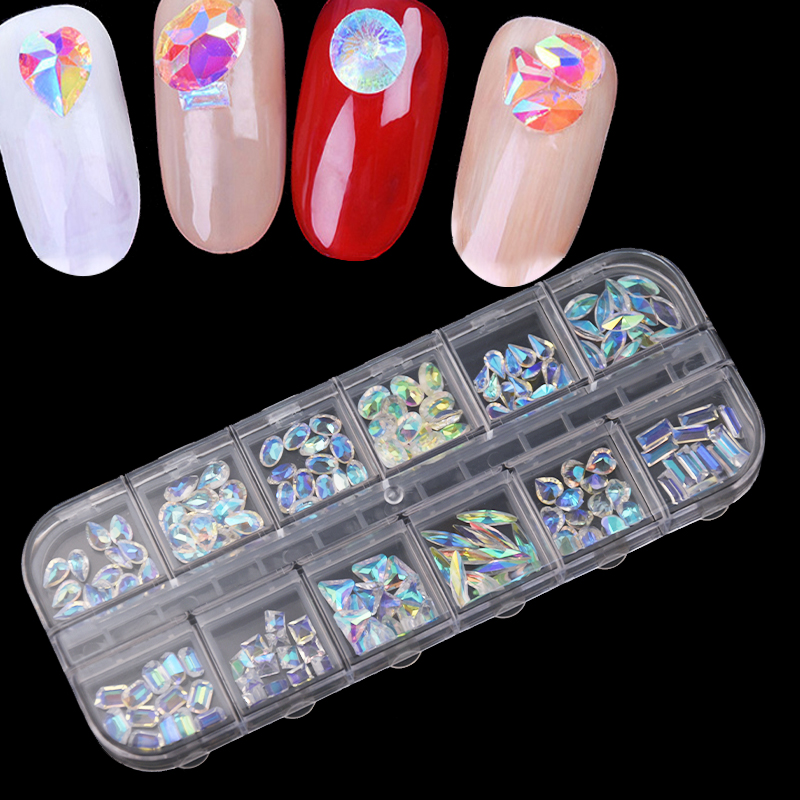 1 Pack Mix Shapes  6 Grids AB Clear Square Oval TearDrop Flat Back 3D Nail Art Decorations Pearls Nails Accessories Stones CJC
