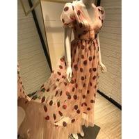 2020 Women Summer Dress Strawberry Beading Sweet Party Beach Boho Bohemian Mesh Ruffles Robe Vestidos Sexy Deep V Neck Pink