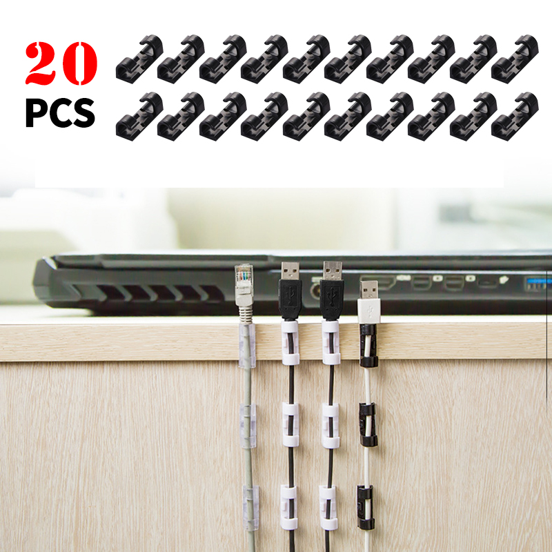 20Pcs Self Stick Wire Organizer Line Cable Clip Buckle Clips Clamp Table Wall Fixer Fastener Holder Data Telephone Line Winder