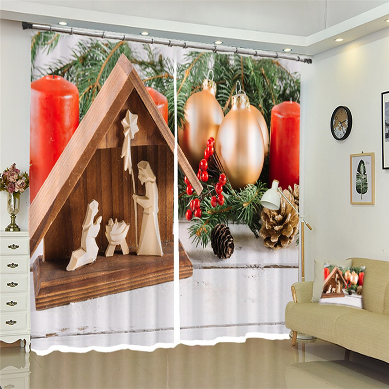 Christmas Blackout Luxury 3D Window Curtains Set For Bed Room Living Room Office Hotel Home Wall Decorative Drape Tapestry