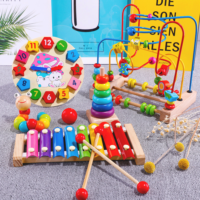 Infant Child Bead-stringing Toy Bead Toy Early Childhood Educational Force Brains Multi-functional 6 Boys And Girls Baby 0-1-Yea