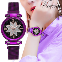 купить Fashion Women Watch Starry Sky Stainless Steel Analog Quartz Wristwatch Bracelet Top Band Luxury Women Watches Reloj Mujer Clock дешево