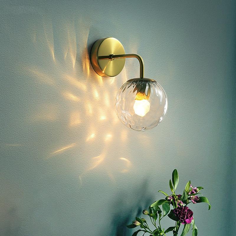 Modern Wall Lamp Glass Ball Retro Wall Light Bedroom Bedside Lamp Restaurant Aisle Corridor Wandlamp Wall Sconce Light Fixture