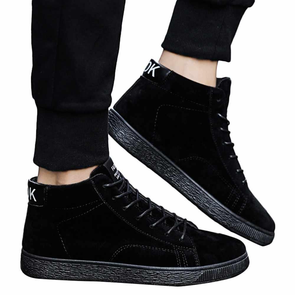 JAYCOSIN hommes en plein air hommes chaussures décontractées bottes chaudes cheville bottes d'hiver neige bottes en cuir de haute qualité à lacets chaussures décontractées