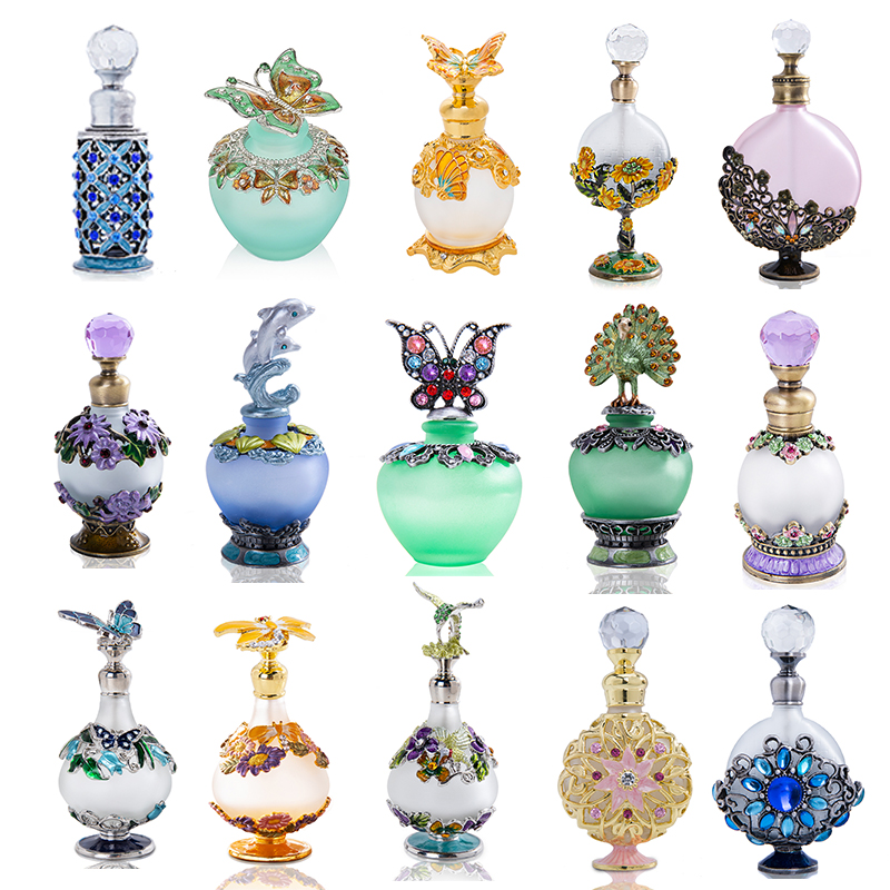 H&D 15 Styles Empty Refillable Perfume Bottle Retro Frosted Glass Slim Scented Fragrance Essential Oil Container Decor Lady Gift