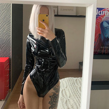 Shining Sequins Bling Party Black Sexy Bodycon High Street PU leather Bodysuits