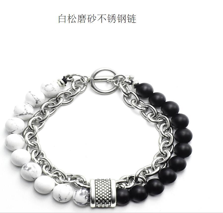 Natural Map Stone Men's Beaded Bracelet for women Stainless Steel Bracelets Male Jewelry Tiger eye bracelet