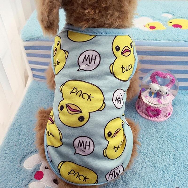 Fashion Duck Pet Dog Summer Vest Breathable Cotton Puppy T-Shirt Soft Pet Clothes Dog Suplies