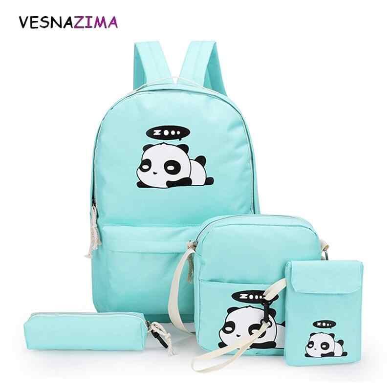 4 unids/set lienzo mujeres mochilas mochila de impresión lindo Panda escuela mochila bolsa para adolescente chicas mochila Moclila Sac WM750Z