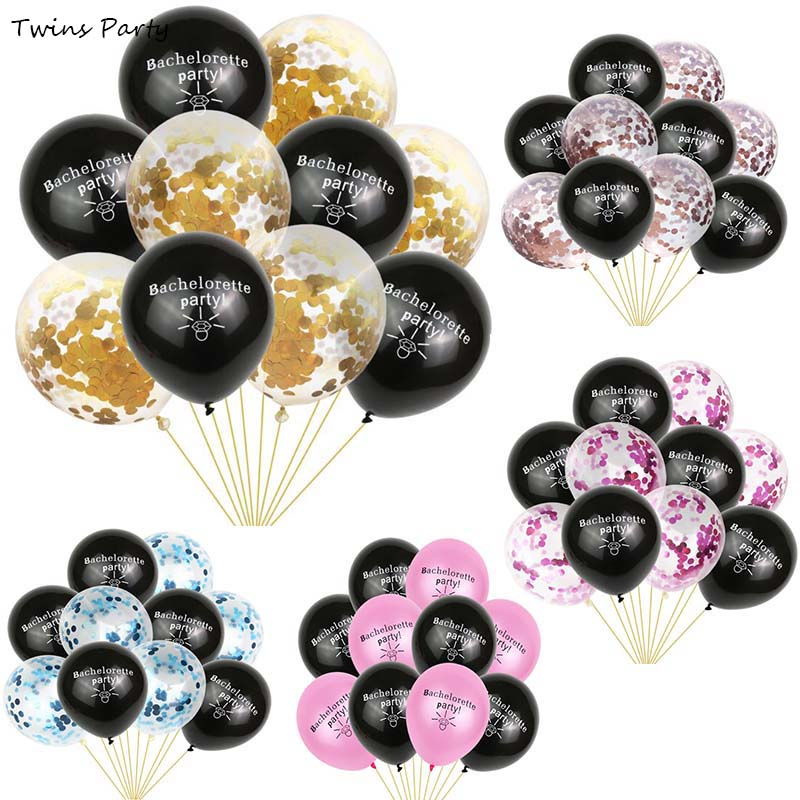 Twins Party 10Pcs Bachelorette Decoration Balloons Team Bride Just Married Bridal Shower Hen