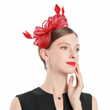 Church Hats Women Elegant Horse Racing Festival Red Linen Flower Hat Royal Banquet Headdress Bridal Fascinator Wedding Caps