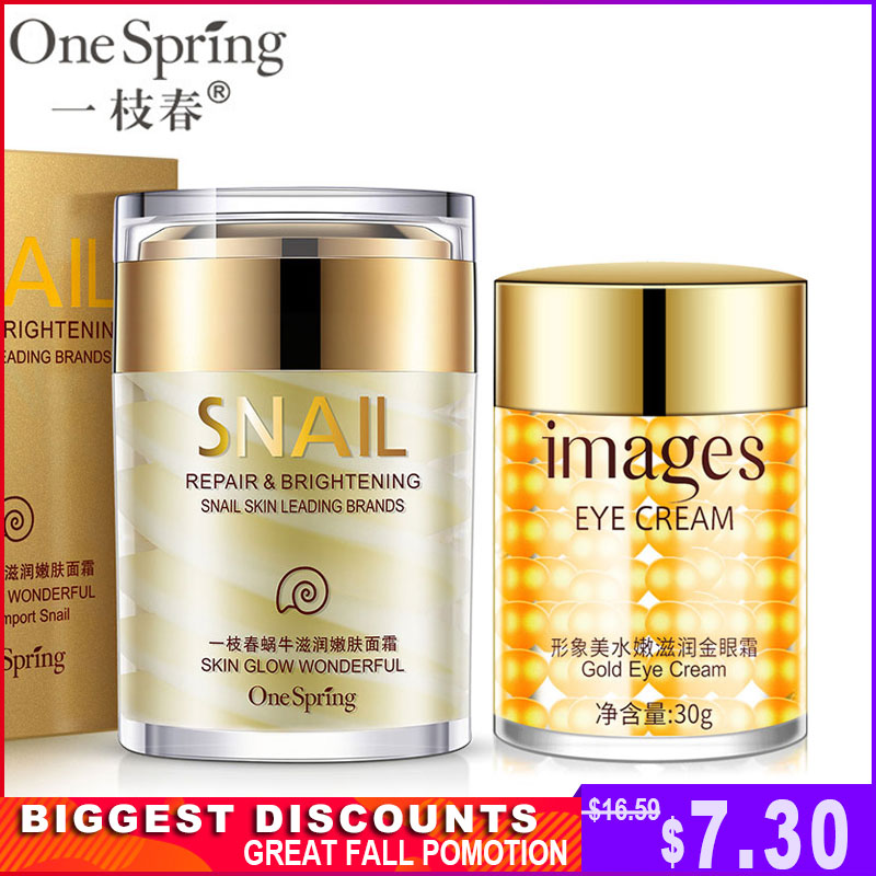OneSping Snail Cream Nourishing Anti Wrinkle+Gold Eye Cream Removal Dark Circles Eye Bag Repair Moisturizing Faical Skin Care