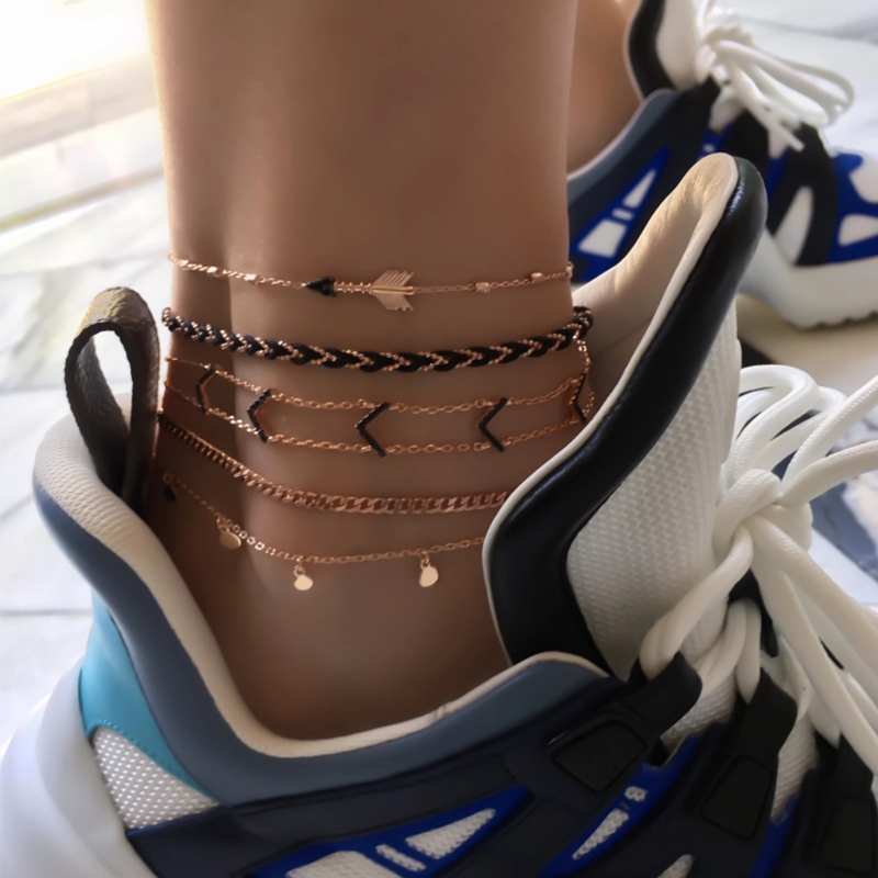 Tocona Layered Vintage Arrows Anklet Women Boho Female Anklets Beach Bracelet On the leg Jewelry Chain Beaded Fashion 8851