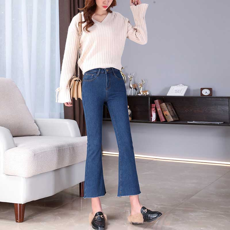 Large Size Micro Horn Jeans Women's Winter Nine Pants New High Waist Korea Was Thin Spring And Autumn Women Plus Velvet Jeans