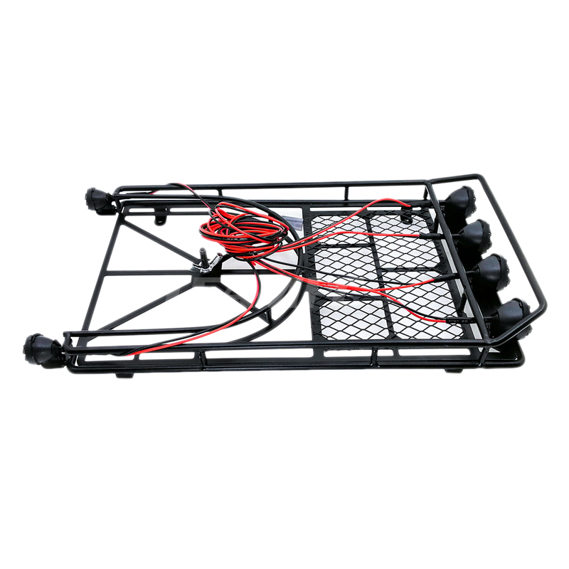 Roof Luggage Rack 4 Led Light Bar For 1/10 Rc Crawler For D90 For Axial For Scx10 Rc Cars Accessories