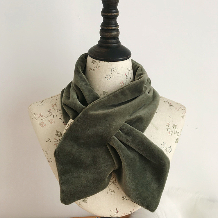 Velvet Scarf Women Scarf Solid Color Simply Interspersed Bring Cravat Autumn Winter Keep Warm Fashion Lovely Scarves