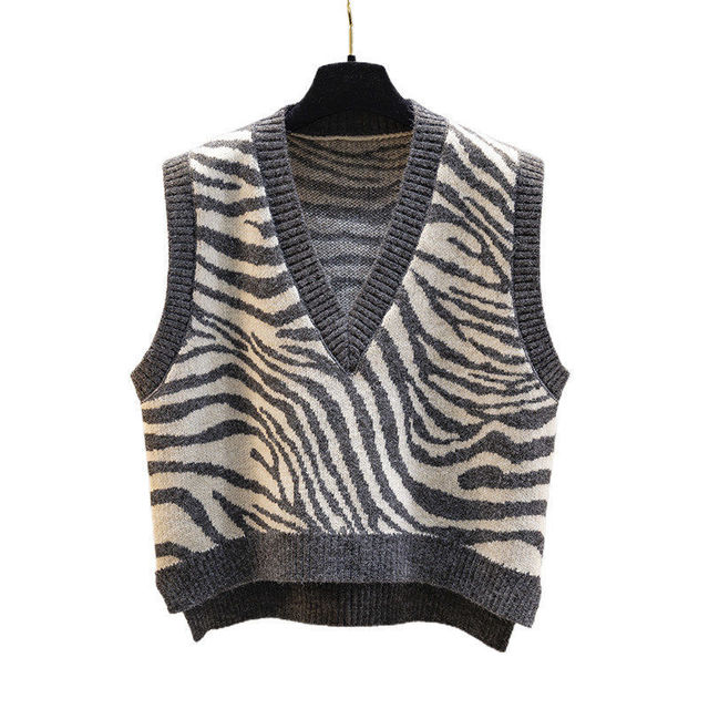 Women Waistcoat Sweater Vest Fashion Zebra Pattern Knitted Sweaters Pullover V Neck Autumn Winter Warm Tops Loose Woman Clothes 6