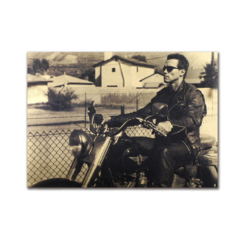 Fashion Classic Cool Men Motorcycle Retro Kraft Paper Posters And Prints Dormitory Bar Coffee Room Living Bedroom Decor Painting image