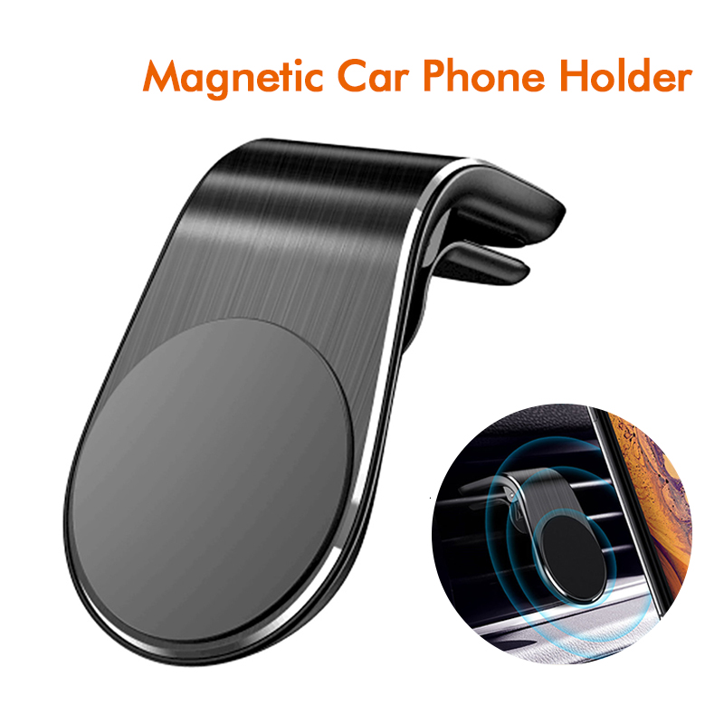 L Shape Magnetic Car Phone Holder Stand Universal Air Vent Clip Mount For IPhone Huawei Xiaomi Samsung In Gps Navigation