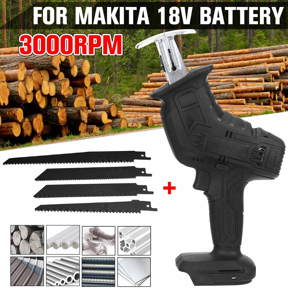 18V 3000rpm Cordless Reciprocating Saw Electric Saw with 4 Blades Kit Portable Metal Wood Cutting Machine for Makita 18V Battery