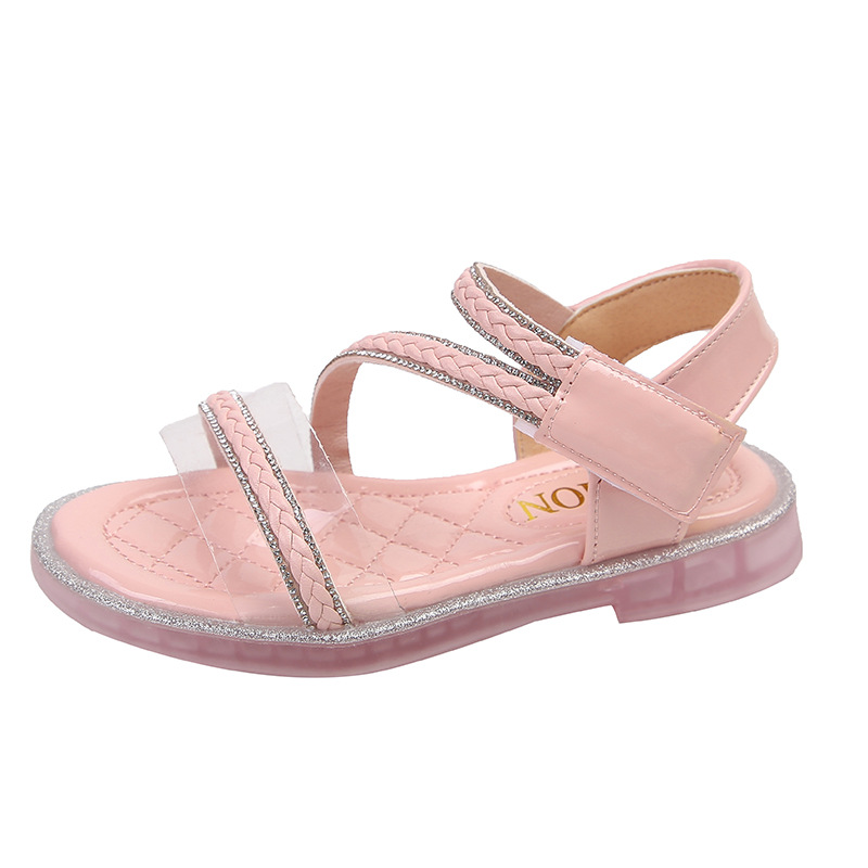 Casual Crystal Flats Little Girls Bling Beach Sandals Toddler Baby Shoes Children's Rhinestone Kids Princess Beach Shoes 21-36
