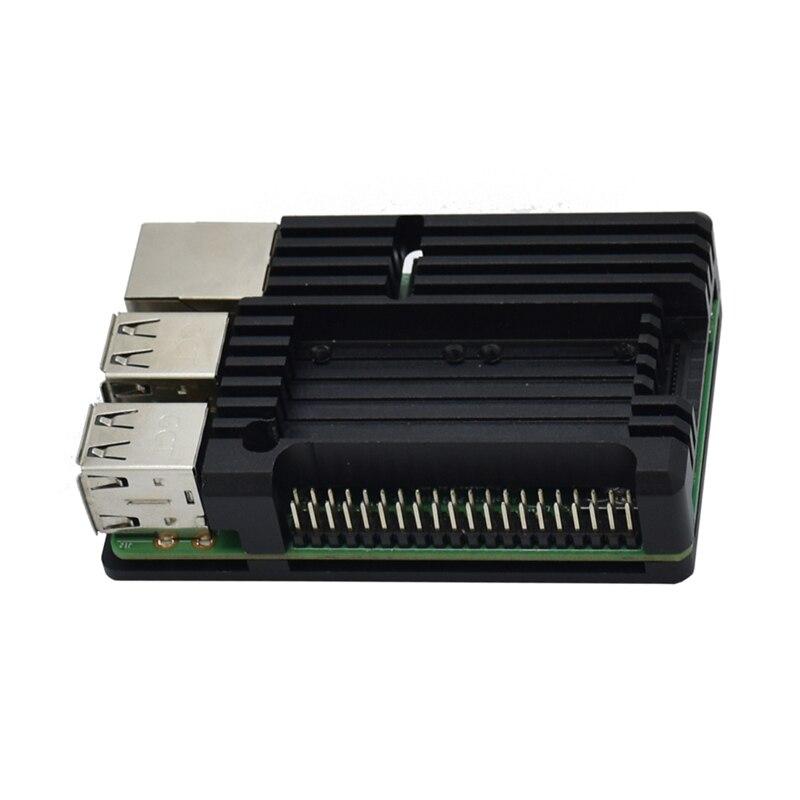 For Raspberry Pi 4 Model B+ Cooling Shell Metal Alloy Aluminum Case Radiator Fan
